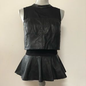 bebe Tops - Bebe faux leather peplum top with sheer detail